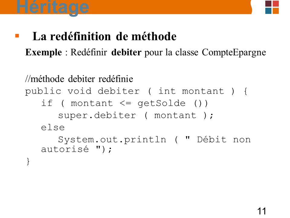 11 La redéfinition de méthode Exemple : Redéfinir debiter pour la classe CompteEpargne //méthode debiter redéfinie public void debiter ( int montant ) { if ( montant <= getSolde ()) super.debiter ( montant ); else System.out.println ( Débit non autorisé ); } Héritage