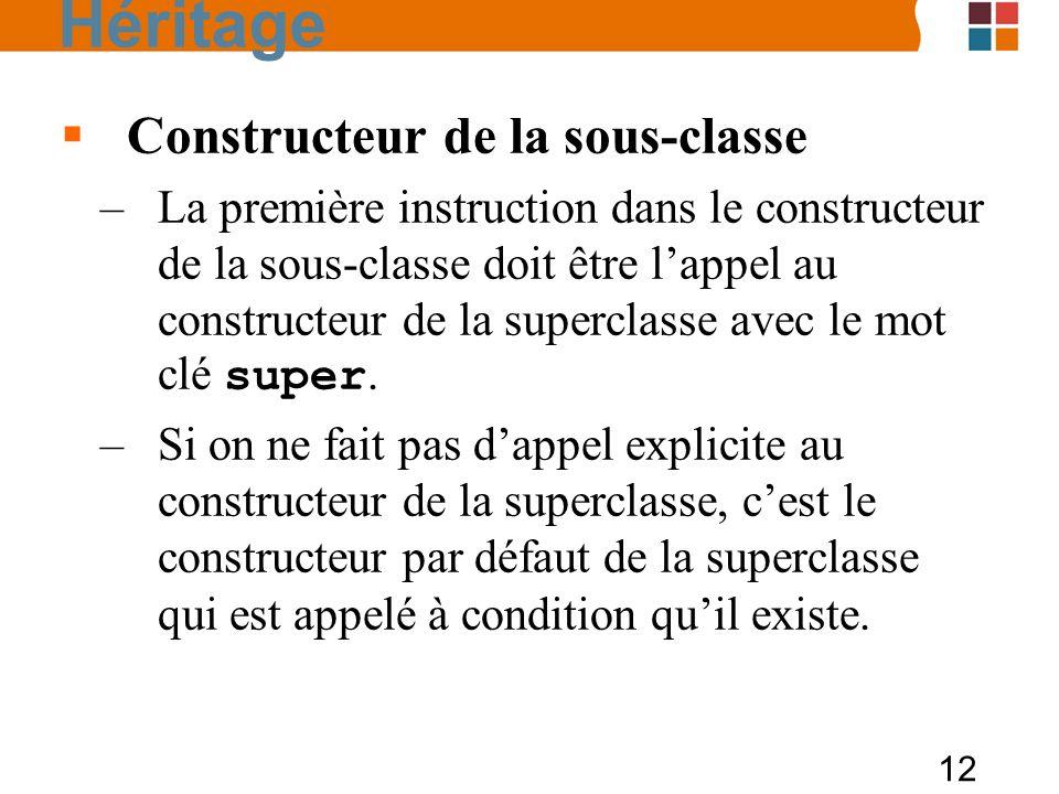 12 Constructeur de la sous-classe –La première instruction dans le constructeur de la sous-classe doit être lappel au constructeur de la superclasse avec le mot clé super.