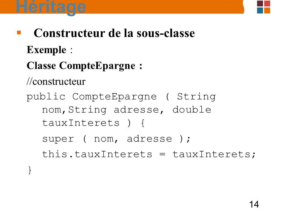 14 Constructeur de la sous-classe Exemple : Classe CompteEpargne : //constructeur public CompteEpargne ( String nom,String adresse, double tauxInterets ) { super ( nom, adresse ); this.tauxInterets = tauxInterets; } Héritage