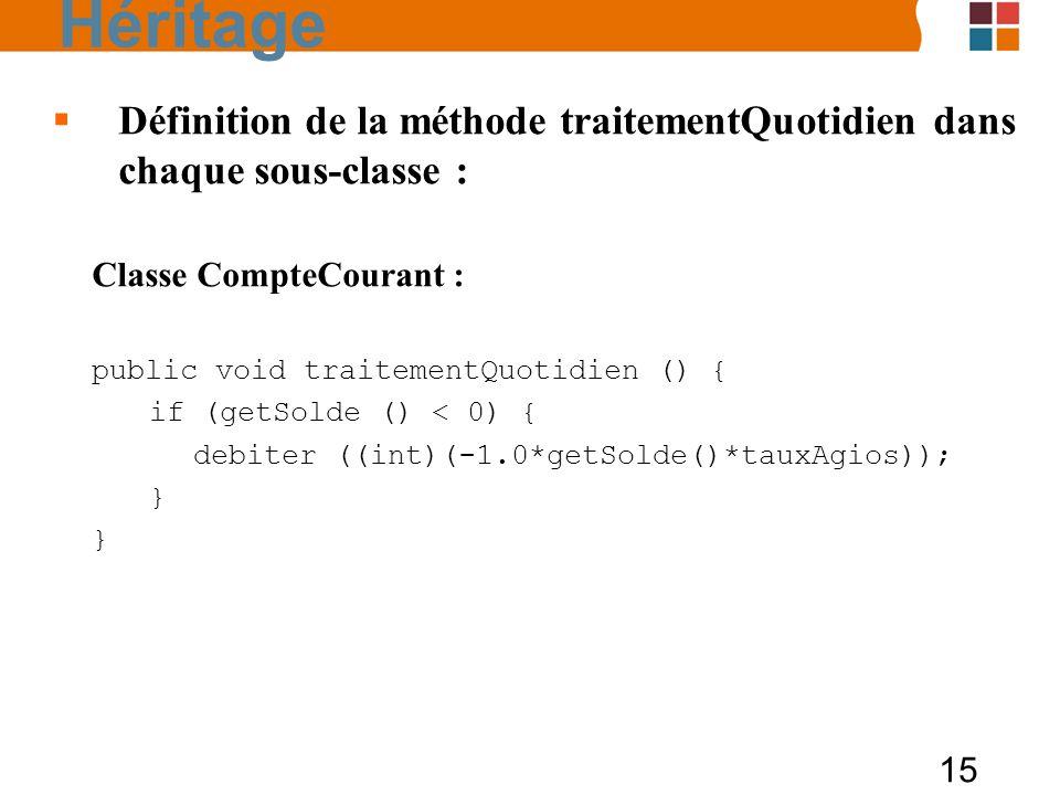 15 Définition de la méthode traitementQuotidien dans chaque sous-classe : Classe CompteCourant : public void traitementQuotidien () { if (getSolde ()