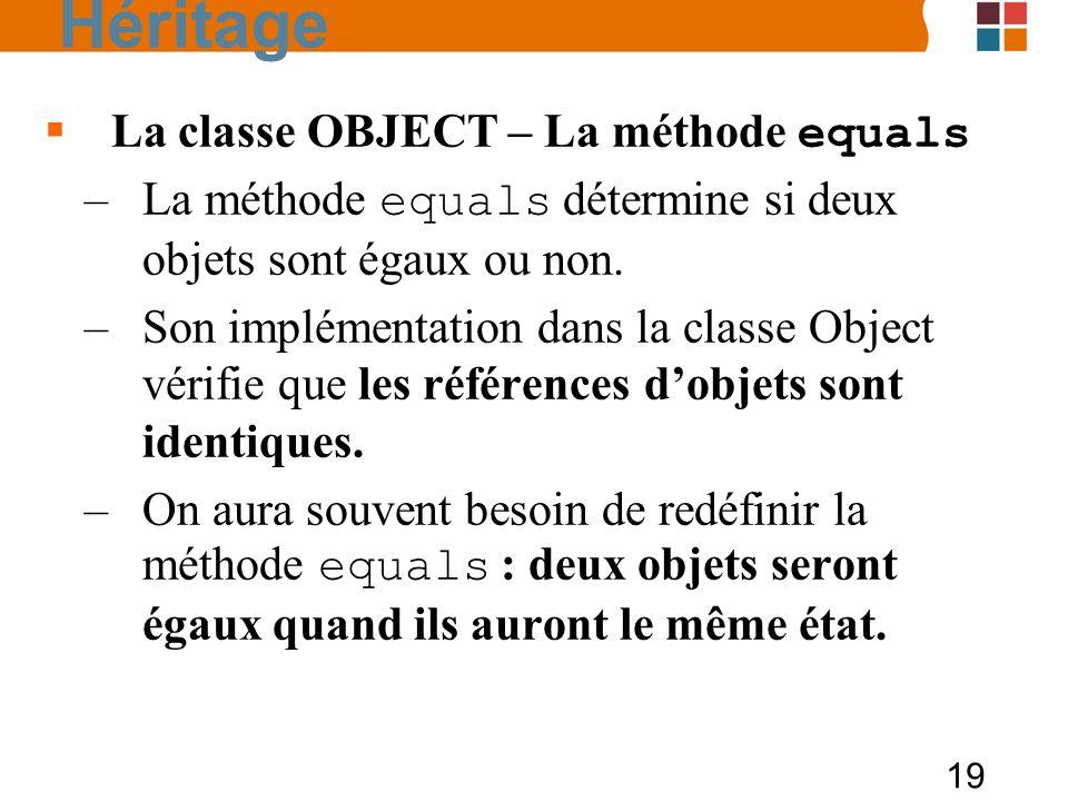 19 La classe OBJECT – La méthode equals –La méthode equals détermine si deux objets sont égaux ou non. –Son implémentation dans la classe Object vérif