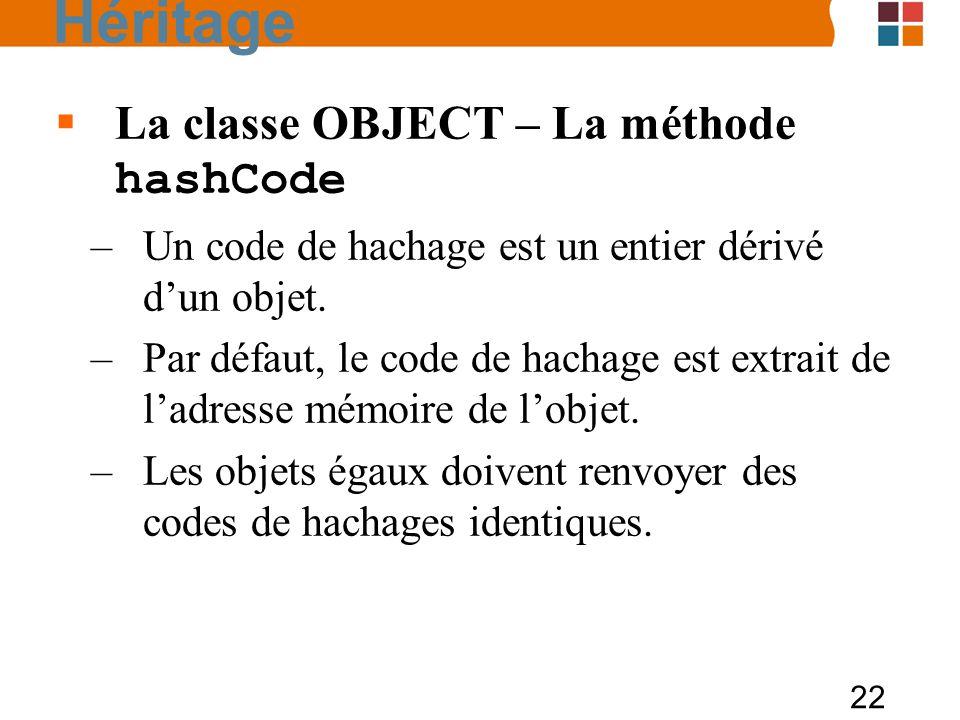 22 La classe OBJECT – La méthode hashCode –Un code de hachage est un entier dérivé dun objet. –Par défaut, le code de hachage est extrait de ladresse