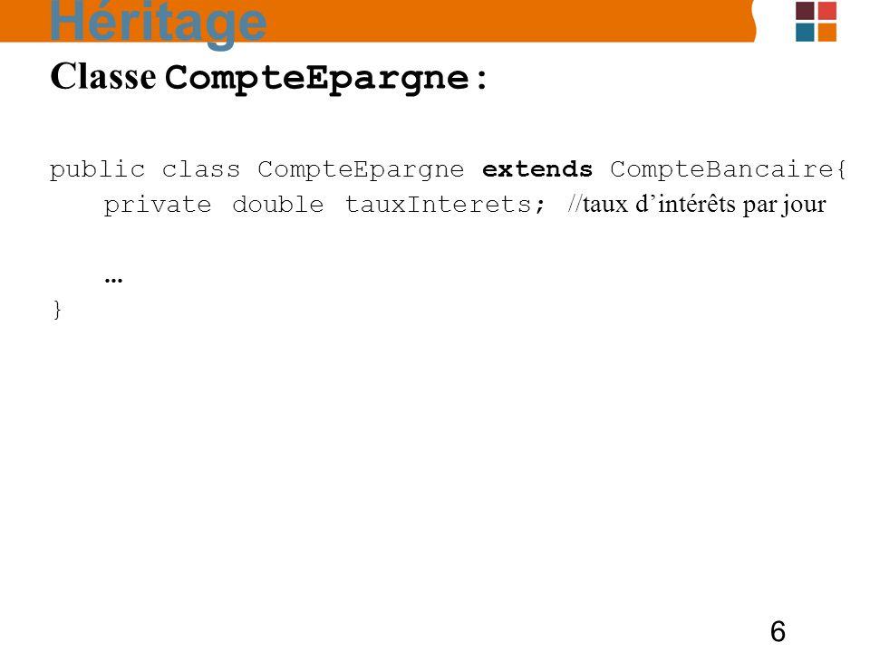 6 Classe CompteEpargne: public class CompteEpargne extends CompteBancaire{ private double tauxInterets; //taux dintérêts par jour... } Héritage