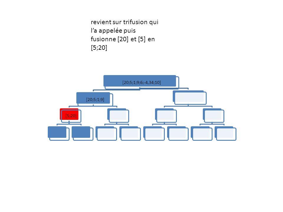 [20;5;1;9;6;-4,34;10][20;5;1;9][5;20] revient sur trifusion qui la appelée puis fusionne [20] et [5] en [5;20]