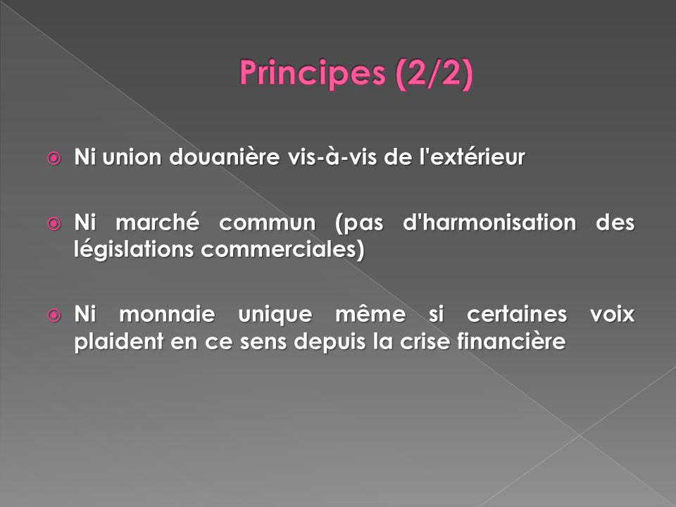 Ni union douanière vis-à-vis de l'extérieur Ni union douanière vis-à-vis de l'extérieur Ni marché commun (pas d'harmonisation des législations commerc