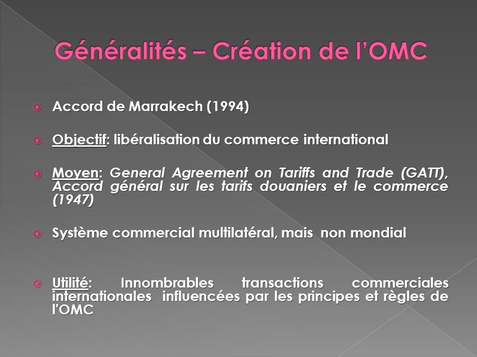 Accord de Marrakech (1994) Accord de Marrakech (1994) Objectif: libéralisation du commerce international Objectif: libéralisation du commerce internat