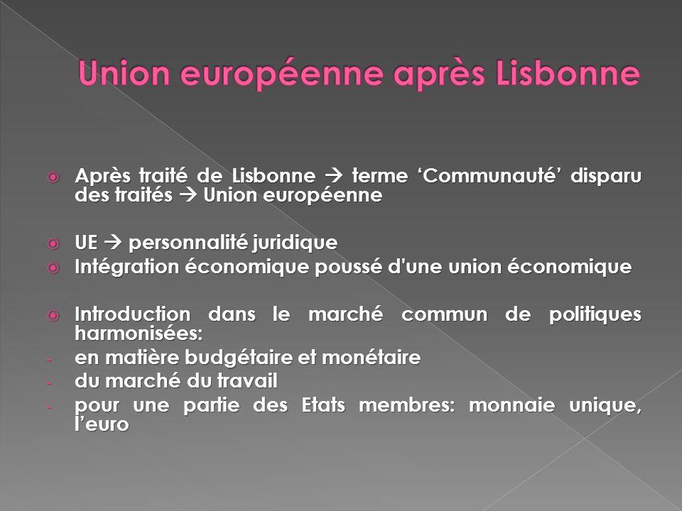 Après traité de Lisbonne terme Communauté disparu des traités Union européenne Après traité de Lisbonne terme Communauté disparu des traités Union eur