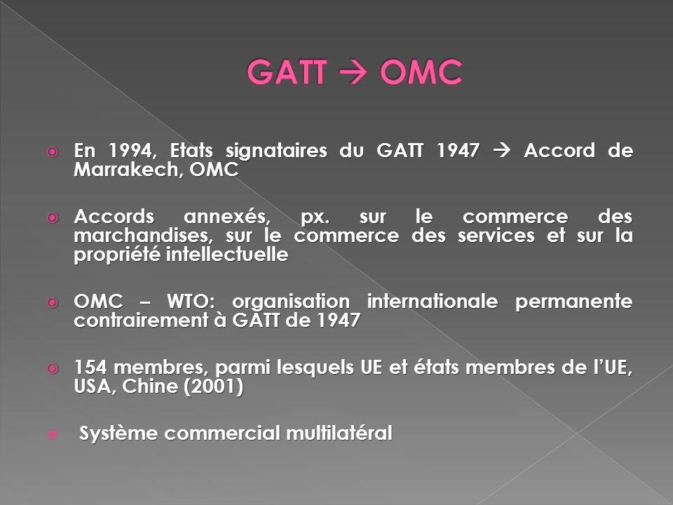 En 1994, Etats signataires du GATT 1947 Accord de Marrakech, OMC En 1994, Etats signataires du GATT 1947 Accord de Marrakech, OMC Accords annexés, px.