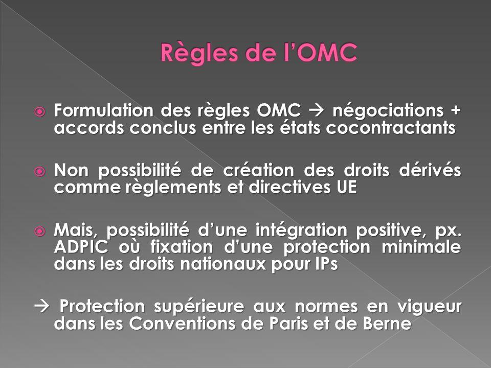 Formulation des règles OMC négociations + accords conclus entre les états cocontractants Formulation des règles OMC négociations + accords conclus ent