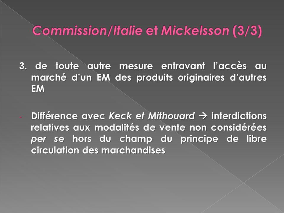 3. de toute autre mesure entravant laccès au marché dun EM des produits originaires dautres EM - Différence avec Keck et Mithouard interdictions relat