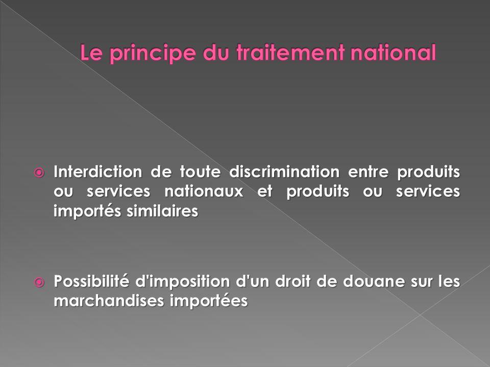 Interdiction de toute discrimination entre produits ou services nationaux et produits ou services importés similaires Interdiction de toute discrimina