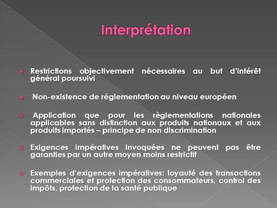 Restrictions objectivement nécessaires au but dintérêt général poursuivi Restrictions objectivement nécessaires au but dintérêt général poursuivi Non-