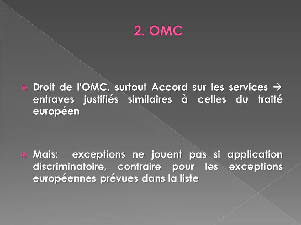 Droit de l'OMC, surtout Accord sur les services entraves justifiés similaires à celles du traité européen Droit de l'OMC, surtout Accord sur les servi