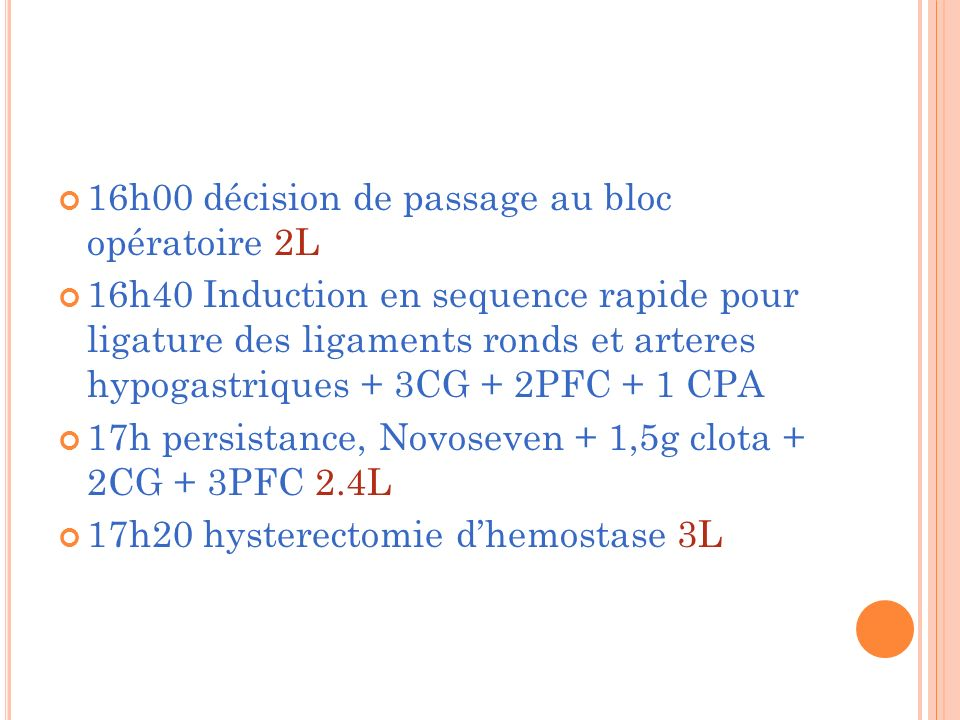 16h00 décision de passage au bloc opératoire 2L 16h40 Induction en sequence rapide pour ligature des ligaments ronds et arteres hypogastriques + 3CG + 2PFC + 1 CPA 17h persistance, Novoseven + 1,5g clota + 2CG + 3PFC 2.4L 17h20 hysterectomie dhemostase 3L