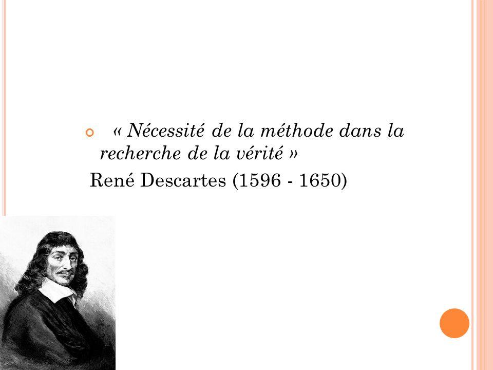« Nécessité de la méthode dans la recherche de la vérité » René Descartes (1596 - 1650)