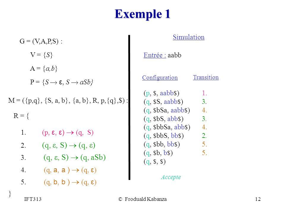 IFT313© Froduald Kabanza12 Exemple 1 G = (V,A,P,S) : V = {S} A = {a,b} P = {S ε, S aSb} M = ({p,q}, {S, a, b}, {a, b}, R, p,{q},$) : R = { 1. (p, ε, ε