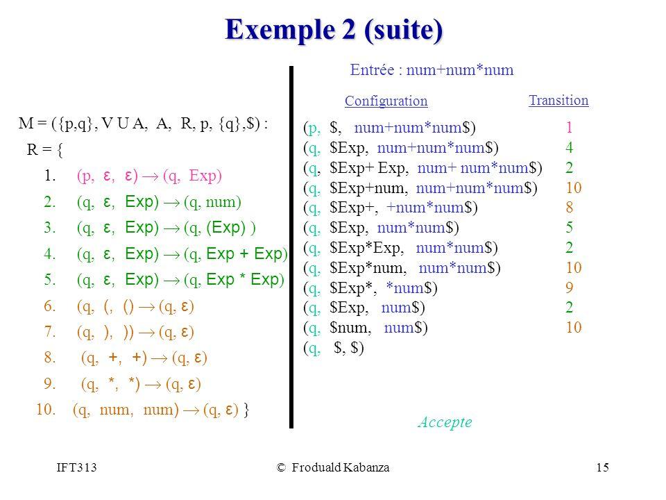 IFT313© Froduald Kabanza15 Exemple 2 (suite) Entrée : num+num*num (p, $, num+num*num$) (q, $Exp, num+num*num$) (q, $Exp+ Exp, num+ num*num$) (q, $Exp+num, num+num*num$) (q, $Exp+, +num*num$) (q, $Exp, num*num$) (q, $Exp*Exp, num*num$) (q, $Exp*num, num*num$) (q, $Exp*, *num$) (q, $Exp, num$) (q, $num, num$) (q, $, $) Accepte M = ({p,q}, V U A, A, R, p, {q},$) : R = { 1.