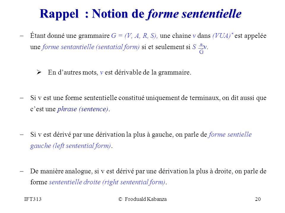 IFT313© Froduald Kabanza20 Rappel : Notion de forme sententielle Étant donné une grammaire G = (V, A, R, S), une chaine v dans (VUA) * est appelée une