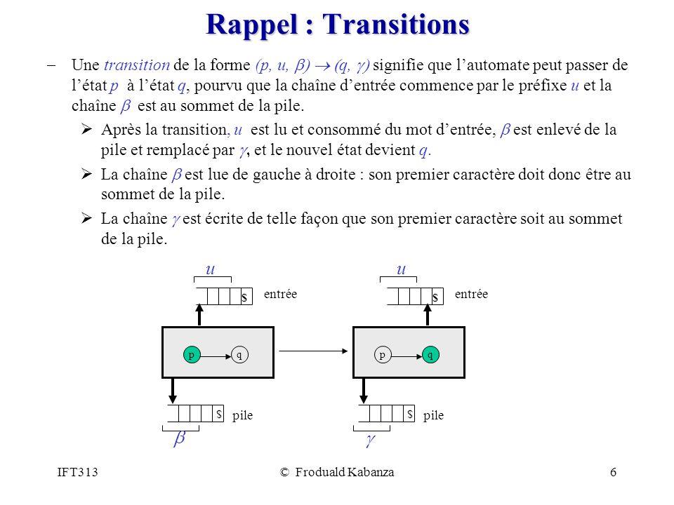 IFT313© Froduald Kabanza6 Rappel : Transitions Une transition de la forme (p, u, q, signifie que lautomate peut passer de létat p à létat q, pourvu que la chaîne dentrée commence par le préfixe u et la chaîne est au sommet de la pile.