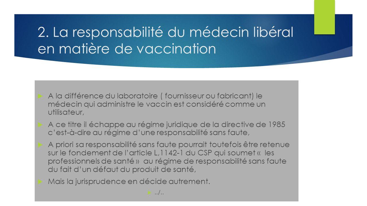 2. La responsabilité du médecin libéral en matière de vaccination A la différence du laboratoire ( fournisseur ou fabricant) le médecin qui administre
