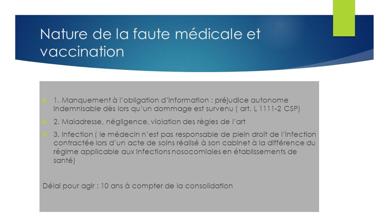 Nature de la faute médicale et vaccination 1.