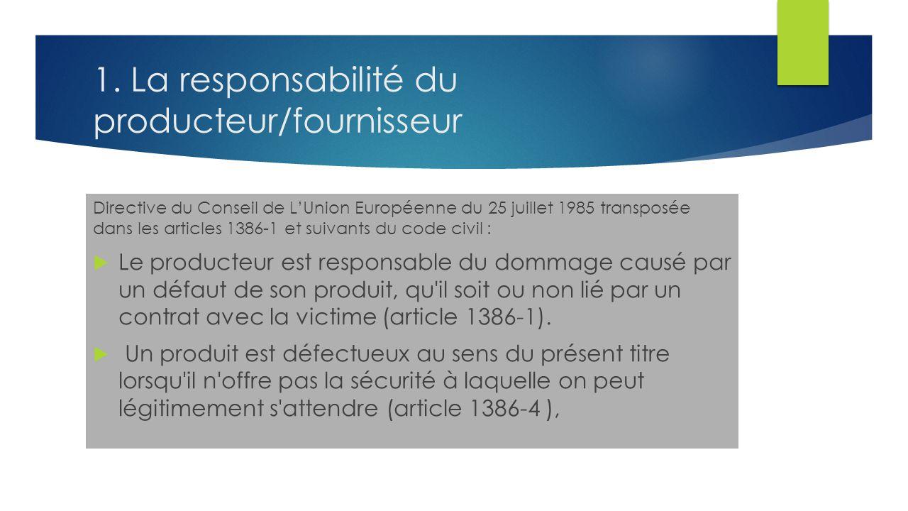 1. La responsabilité du producteur/fournisseur Directive du Conseil de LUnion Européenne du 25 juillet 1985 transposée dans les articles 1386-1 et sui