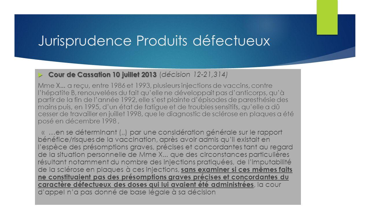 Jurisprudence Produits défectueux Cour de Cassation 10 juillet 2013 Cour de Cassation 10 juillet 2013 ( décision 12-21,314) Mme X...