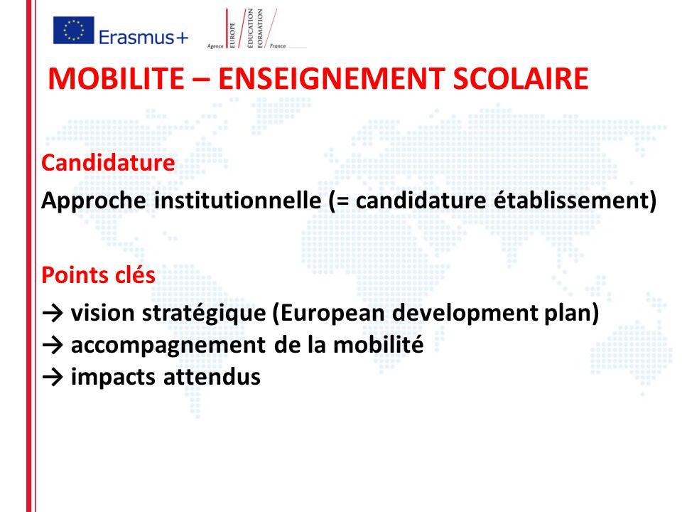 Candidature Approche institutionnelle (= candidature établissement) Points clés vision stratégique (European development plan) accompagnement de la mobilité impacts attendus