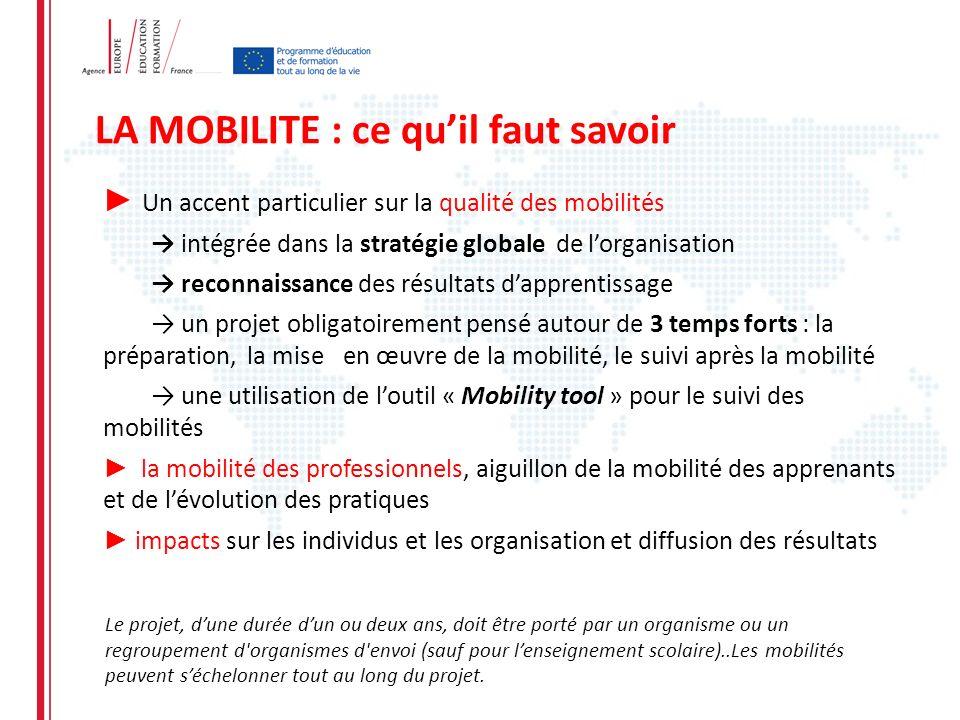 LA MOBILITE : ce quil faut savoir Un accent particulier sur la qualité des mobilités intégrée dans la stratégie globale de lorganisation reconnaissanc