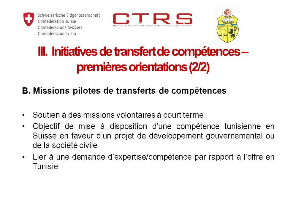 B. Missions pilotes de transferts de compétences Soutien à des missions volontaires à court terme Objectif de mise à disposition dune compétence tunis