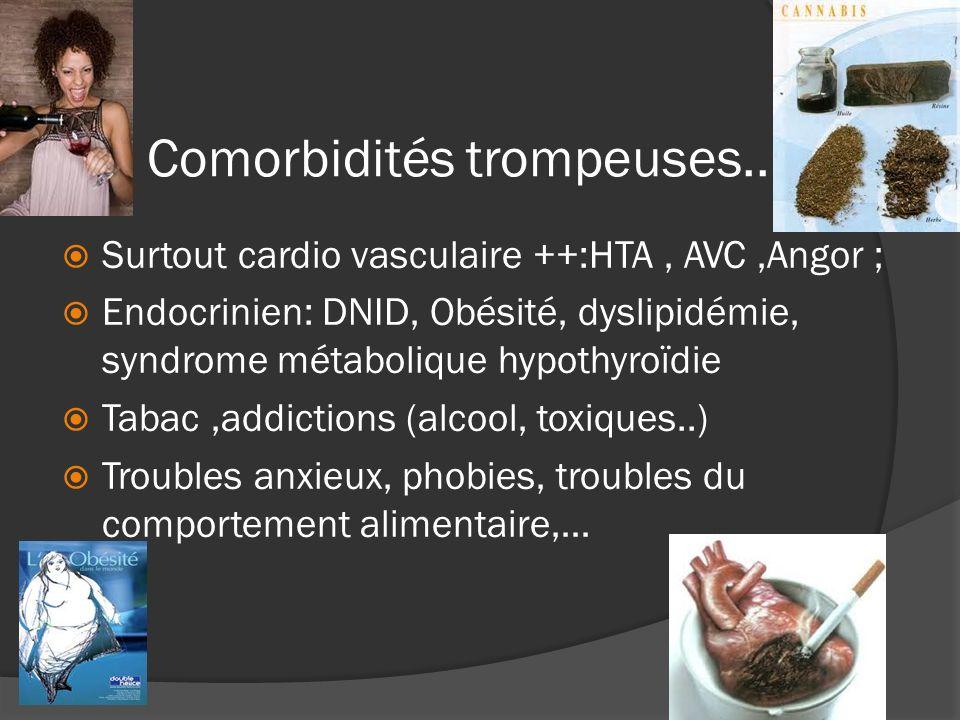 Les Comorbidités trompeuses.. Surtout cardio vasculaire ++:HTA, AVC,Angor ; Endocrinien: DNID, Obésité, dyslipidémie, syndrome métabolique hypothyroïd