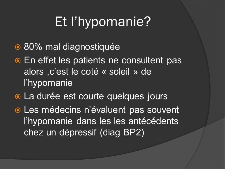 Et lhypomanie? 80% mal diagnostiquée En effet les patients ne consultent pas alors,cest le coté « soleil » de lhypomanie La durée est courte quelques