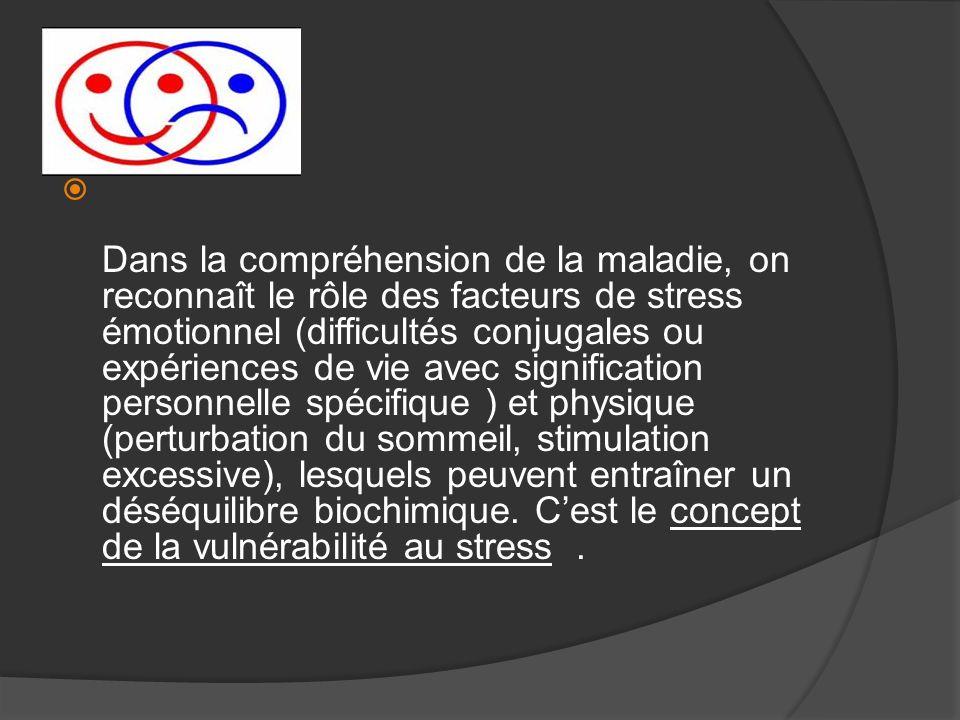 Dans la compréhension de la maladie, on reconnaît le rôle des facteurs de stress émotionnel (difficultés conjugales ou expériences de vie avec signifi