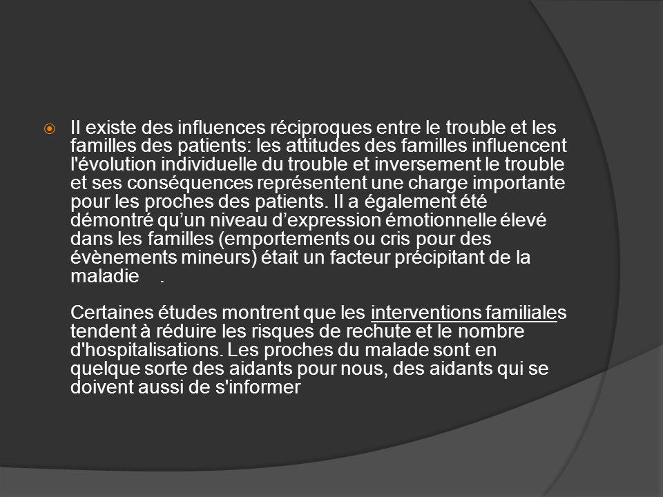Il existe des influences réciproques entre le trouble et les familles des patients: les attitudes des familles influencent l'évolution individuelle du