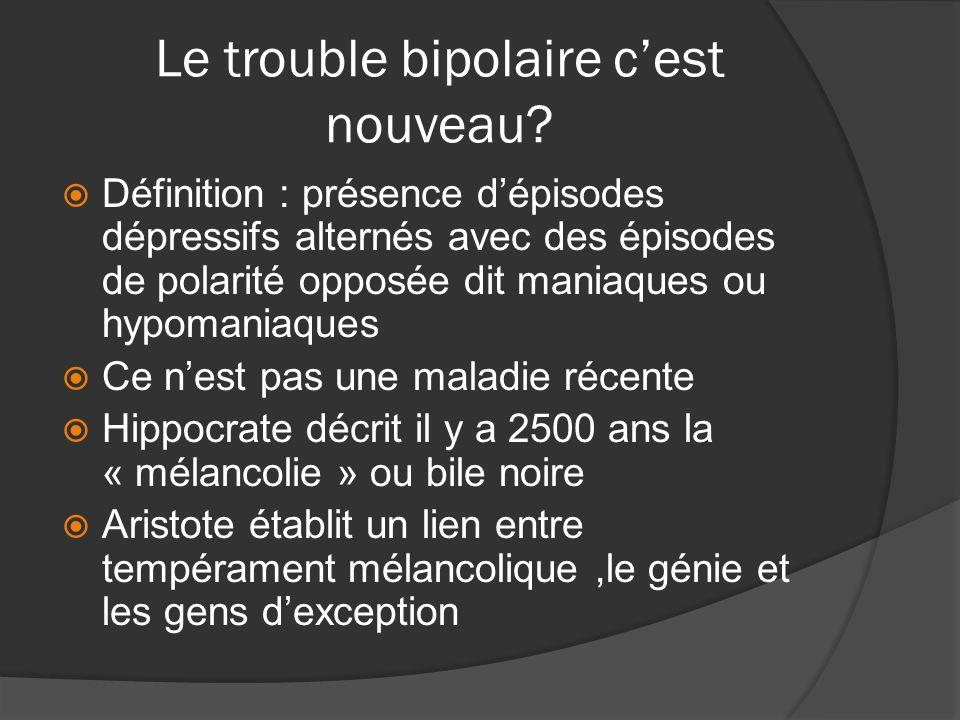 Le trouble bipolaire cest nouveau? Définition : présence dépisodes dépressifs alternés avec des épisodes de polarité opposée dit maniaques ou hypomani