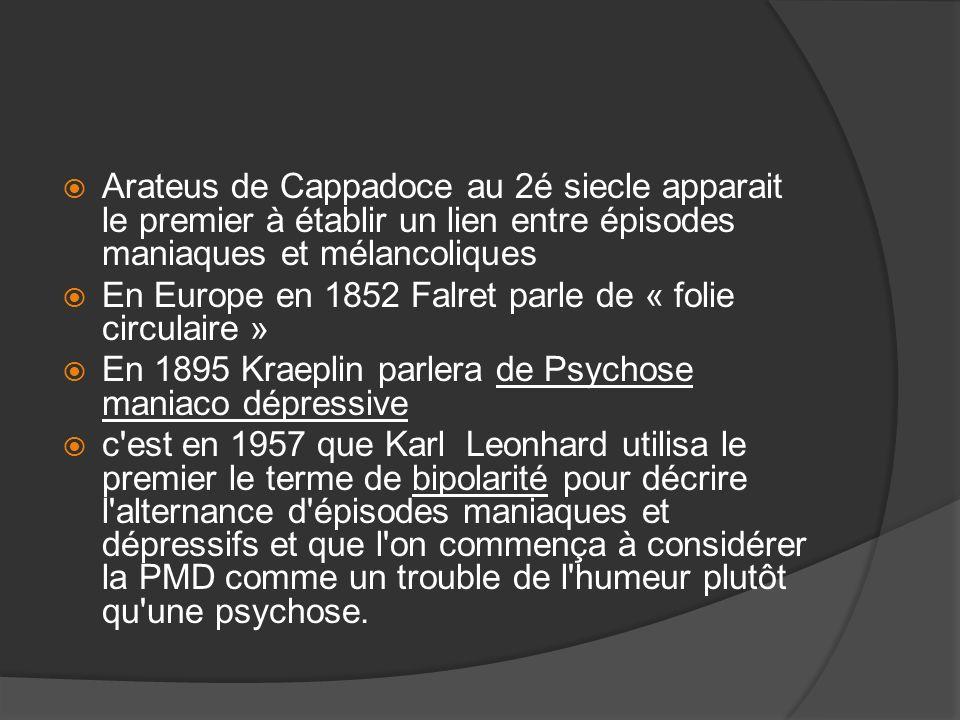 Arateus de Cappadoce au 2é siecle apparait le premier à établir un lien entre épisodes maniaques et mélancoliques En Europe en 1852 Falret parle de «
