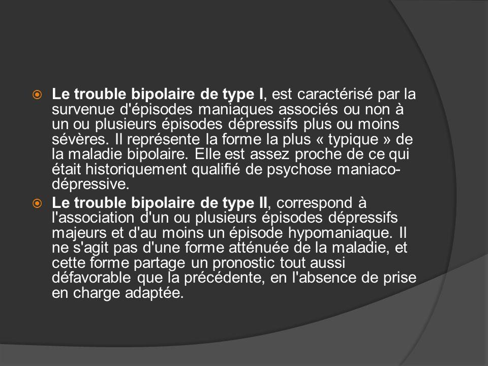 Le trouble bipolaire de type I, est caractérisé par la survenue d'épisodes maniaques associés ou non à un ou plusieurs épisodes dépressifs plus ou moi