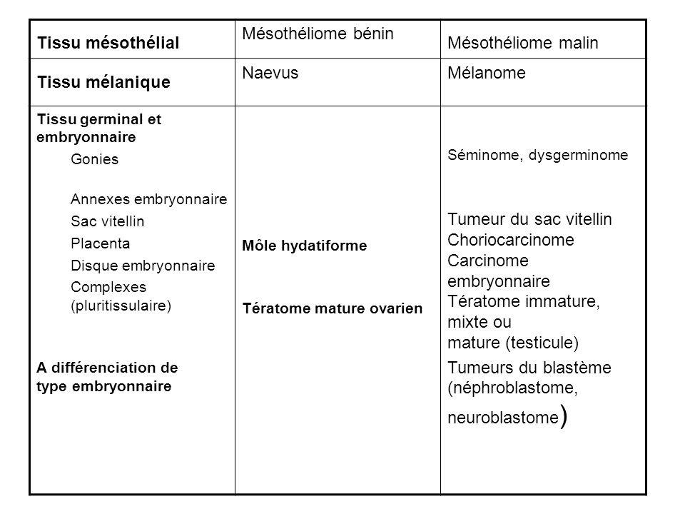 Tissu mésothélial Mésothéliome bénin Mésothéliome malin Tissu mélanique NaevusMélanome Tissu germinal et embryonnaire Gonies Annexes embryonnaire Sac vitellin Placenta Disque embryonnaire Complexes (pluritissulaire) A différenciation de type embryonnaire Môle hydatiforme Tératome mature ovarien Séminome, dysgerminome Tumeur du sac vitellin Choriocarcinome Carcinome embryonnaire Tératome immature, mixte ou mature (testicule) Tumeurs du blastème (néphroblastome, neuroblastome )