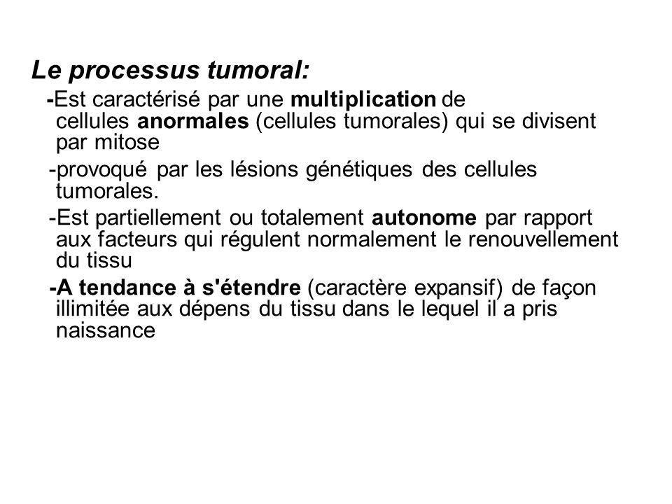 Composition d une tumeur: Le tissu tumoral est composé De cellules tumorales = cellules prolifératives anormales De cellules et de substances extra-cellulaires qui accompagnent les cellules tumorales = stroma.