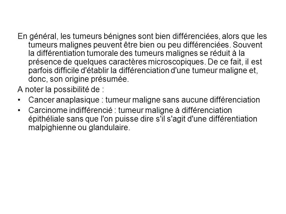 En général, les tumeurs bénignes sont bien différenciées, alors que les tumeurs malignes peuvent être bien ou peu différenciées.