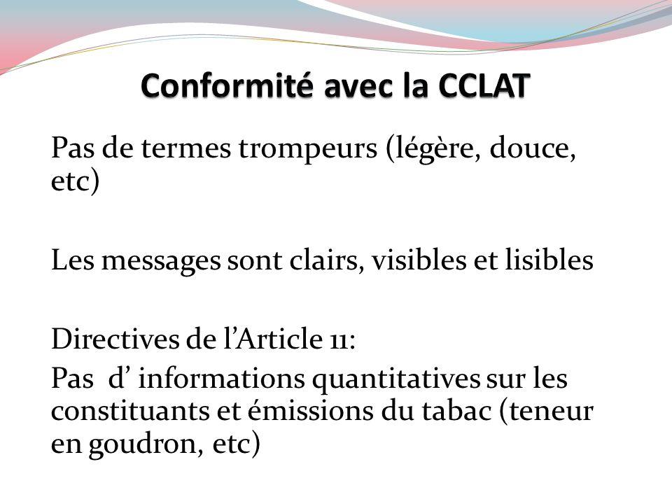 Pas de termes trompeurs (légère, douce, etc) Les messages sont clairs, visibles et lisibles Directives de lArticle 11: Pas d informations quantitative
