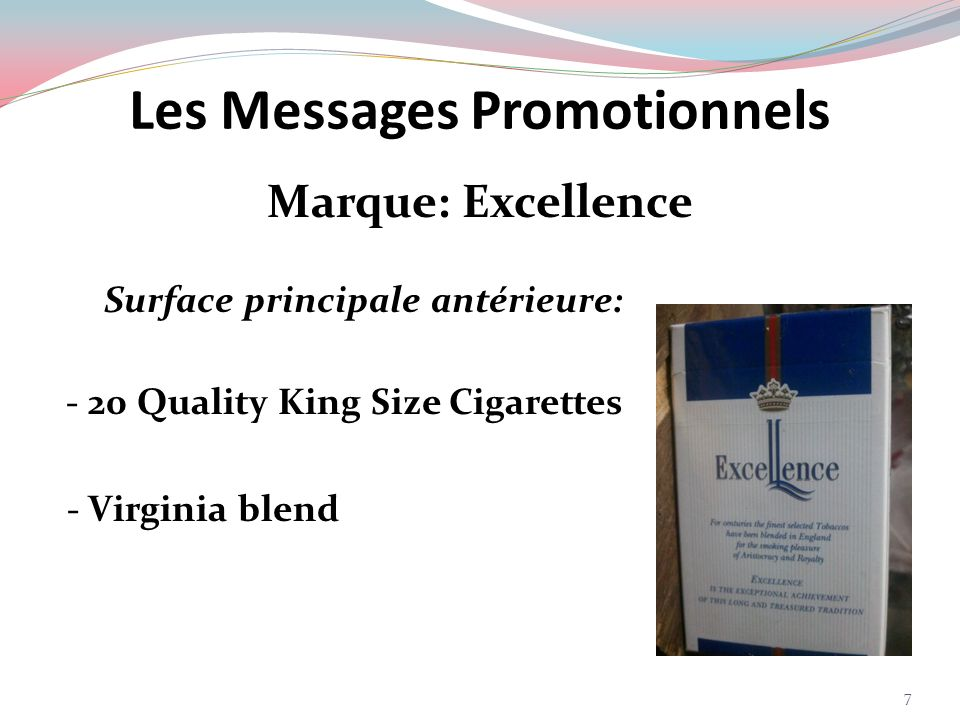 Marque: Excellence Surface principale postérieure: For centuries the finest selected tobaccos have been blended in England for the smoking pleasure of Aristocracy and Royalty Excellence is the exceptional achievement of this long and treasured tradition.