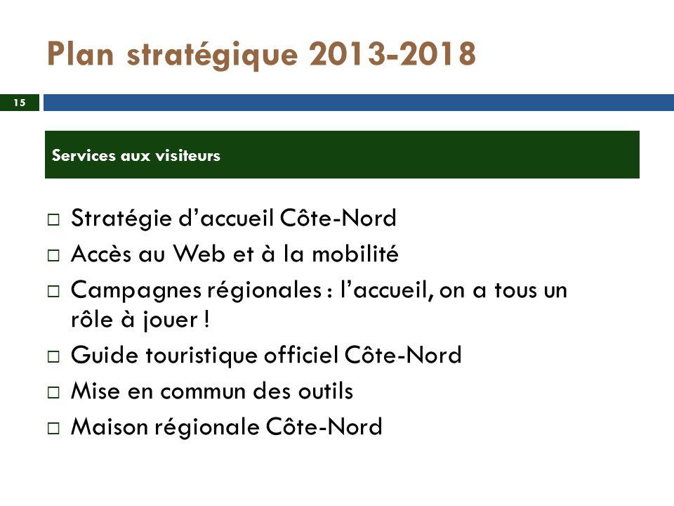 Plan stratégique 2013-2018 Stratégie daccueil Côte-Nord Accès au Web et à la mobilité Campagnes régionales : laccueil, on a tous un rôle à jouer .