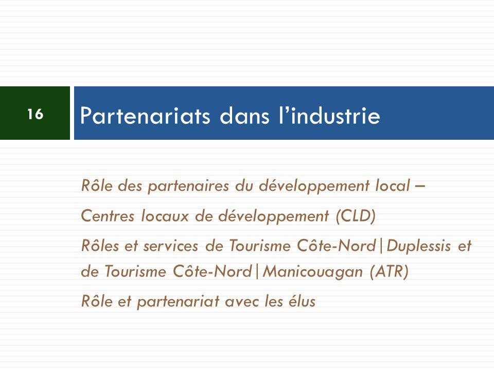 Rôle des partenaires du développement local – Centres locaux de développement (CLD) Rôles et services de Tourisme Côte-Nord|Duplessis et de Tourisme Côte-Nord|Manicouagan (ATR) Rôle et partenariat avec les élus Partenariats dans lindustrie 16