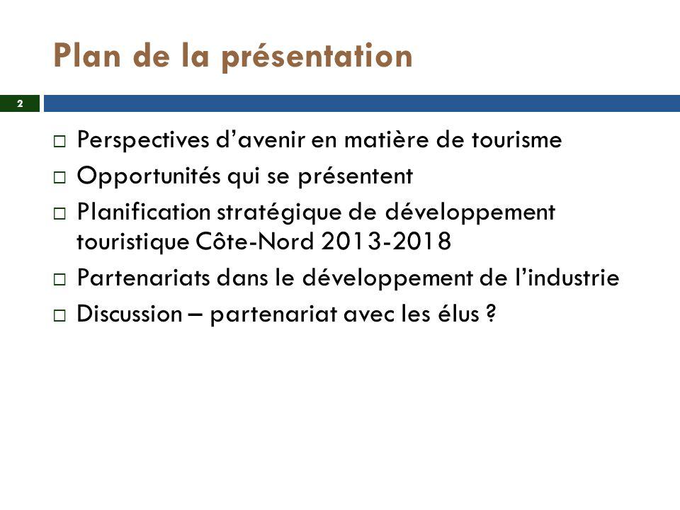 Plan de la présentation Perspectives davenir en matière de tourisme Opportunités qui se présentent Planification stratégique de développement touristique Côte-Nord 2013-2018 Partenariats dans le développement de lindustrie Discussion – partenariat avec les élus .