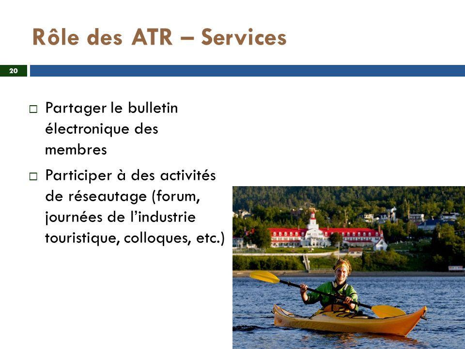 Rôle des ATR – Services Partager le bulletin électronique des membres Participer à des activités de réseautage (forum, journées de lindustrie touristique, colloques, etc.) 20