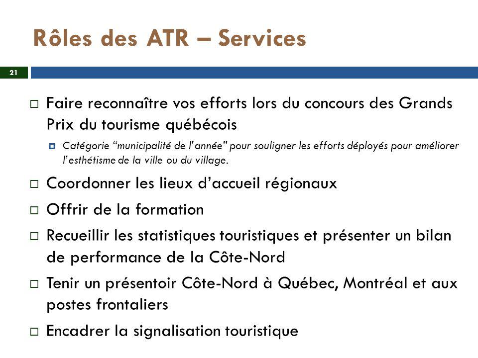 Rôles des ATR – Services Faire reconnaître vos efforts lors du concours des Grands Prix du tourisme québécois Catégorie municipalité de lannée pour souligner les efforts déployés pour améliorer lesthétisme de la ville ou du village.