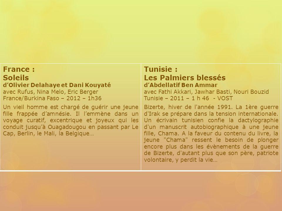 France : Soleils dOlivier Delahaye et Dani Kouyaté avec Rufus, Nina Melo, Eric Berger France/Burkina Faso – 2012 – 1h36 Un vieil homme est chargé de guérir une jeune fille frappée damnésie.