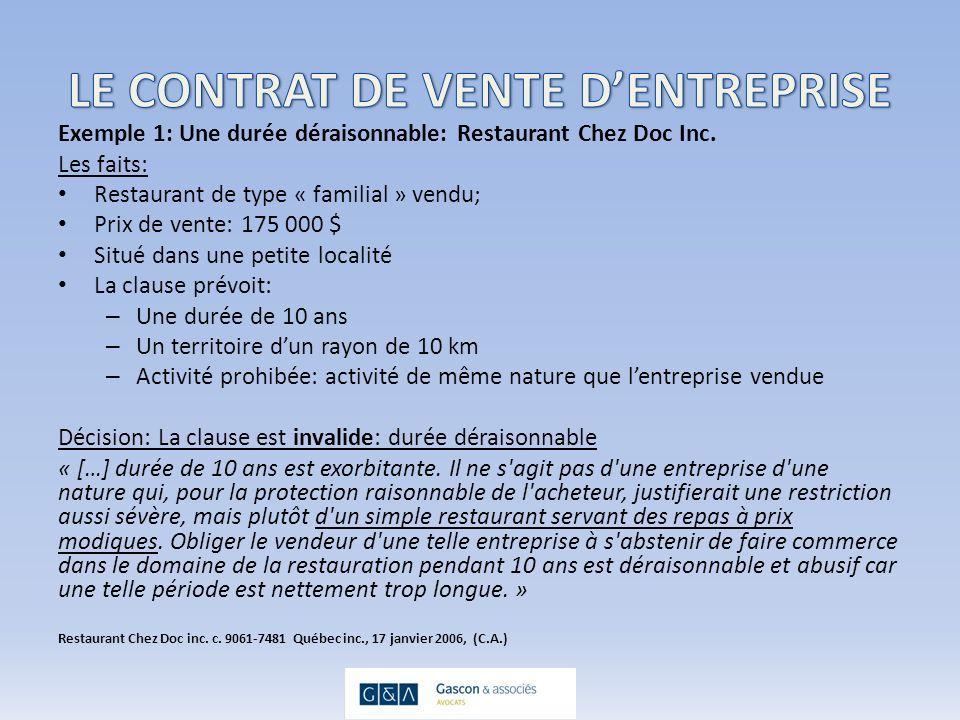 Exemple 1: Une durée déraisonnable: Restaurant Chez Doc Inc.