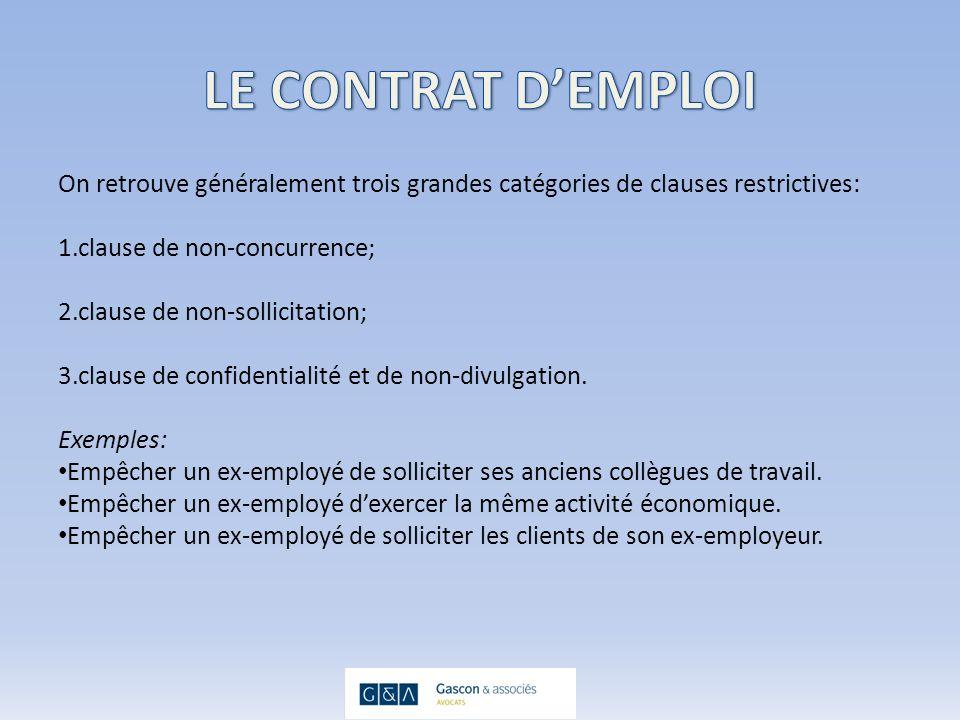 Principes à retenir: Les critères en matière dun contrat de vente dentreprise sont moins restrictifs quen matière de contrat demploi.